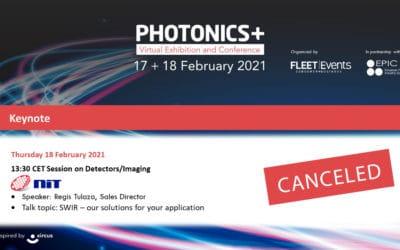 NIT product presentation at Photonics Plus was canceled