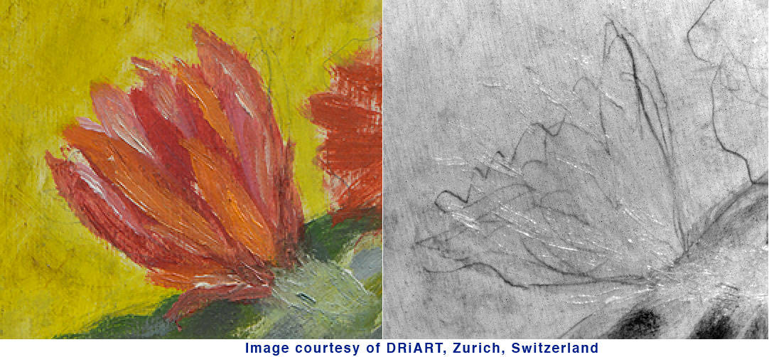 painting in visible light on left versus painting in SWIR on right